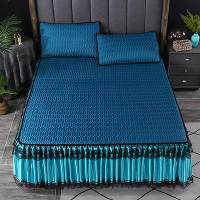 2021新款乳胶凉席床裙 180*200cm(三件套) 墨绿