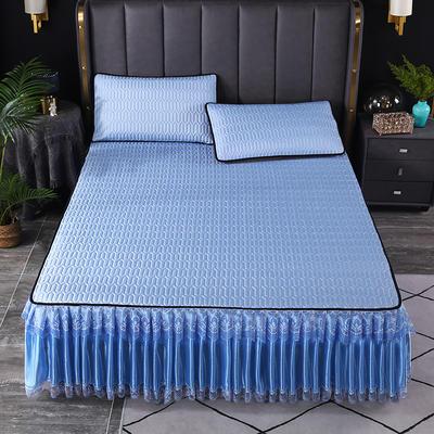 2021新款乳胶凉席床裙 180*200cm(三件套) 蓝色
