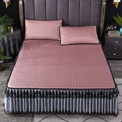 2021新款乳胶凉席床裙 180*200cm(三件套) 豆沙