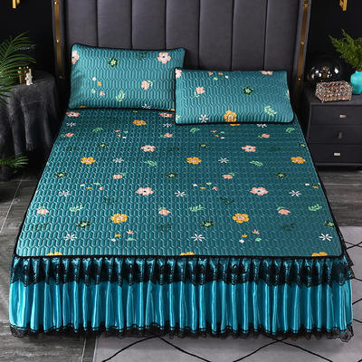 2021新款乳胶凉席床裙 120*200cm(两件套) 小花