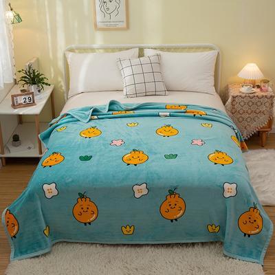 2021新款加厚云貂绒毛毯盖毯 150*200cm 橙子