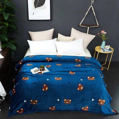 2021新款加厚云貂绒毛毯盖毯 150*200cm 蓝色小熊