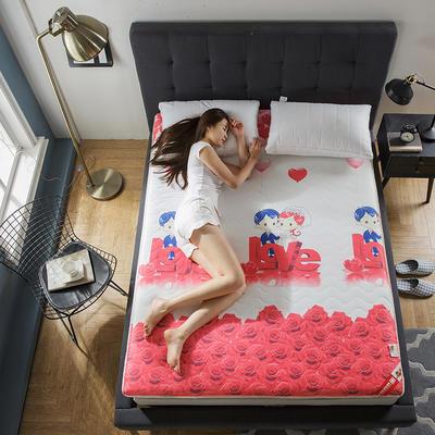 2018新款针织印花床垫-厚度6.5cm 90*200cm LOVE玫瑰