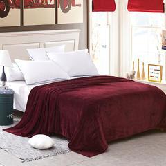 世纪绒品 240克金貂绒毛毯(素色) 150cm*200cm 酒红