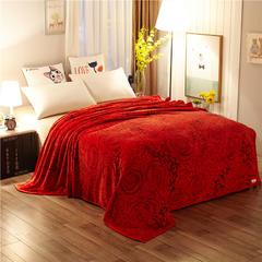 世纪绒品  350g冰貂绒毛毯 150cm*200cm 玫瑰情缘