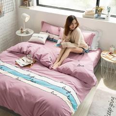 全棉活性生态磨毛四件套 1.8m(6英尺)床 梦之旋律-豆沙