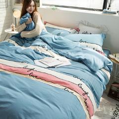 全棉活性生态磨毛四件套 1.8m(6英尺)床 梦之旋律-湖兰