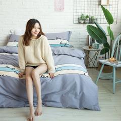 全棉活性生态磨毛四件套 1.8m(6英尺)床 梦之旋律-灰