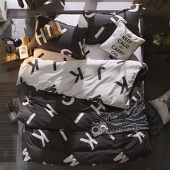 米洛全棉贡缎臻绒活性印花系类四件套 标准(1.5m床/1.8m床) 洛伊