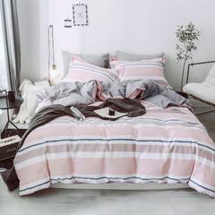2018新款-全棉喷气活性超柔磨毛四件套风格三 1.5m(5英尺)床 暮光-粉