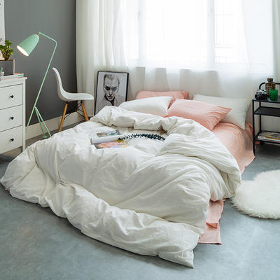 水洗棉基础款多规格四件套 小小号床单款(0.9-1.2米床) 粉+白