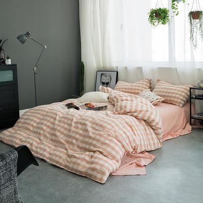 水洗棉基础款多规格四件套 小小号床单款(0.9-1.2米床) 粉白三分格