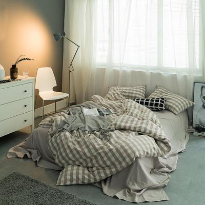 水洗棉基础款多规格四件套 中号床单款(1.5m-1.8m床) 米白三分格