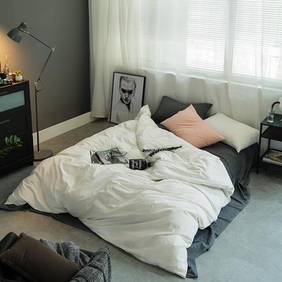 水洗棉基础款多规格四件套 小小号床单款(0.9-1.2米床) 深灰+白
