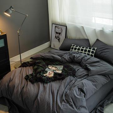 水洗棉四件套基础款新花型 小小号床单款(0.9-1.2米床) 小灰格