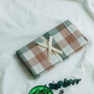 水洗棉基础款新花型单品(枕套) 48cmX74cm/对 绿咖三分格