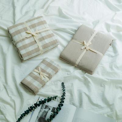 水洗棉基础款新花型单品(枕套) 48cmX74cm/对 米白三分格