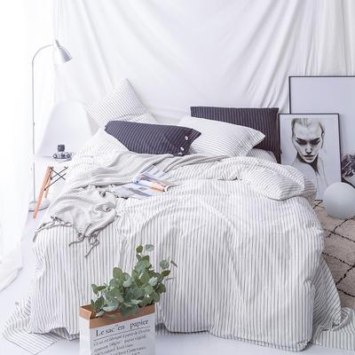 性冷淡风!极简黑白条水洗棉四件套 基础款1.5m(5英尺)床 白条
