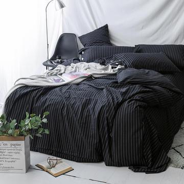 性冷淡风!极简黑白条水洗棉四件套 基础款1.8m(6英尺)床 黑条