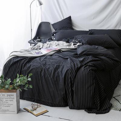 性冷淡风!极简黑白条水洗棉四件套 基础款1.5m(5英尺)床 黑条