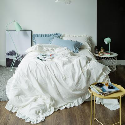 爱尚佳荷花边水洗棉四件套(床单款/床笠款) 床单款(1.5m-1.8m床) 洛丽塔-纯白
