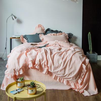 爱尚佳荷花边水洗棉四件套(床单款/床笠款) 床单款(1.5m-1.8m床) 洛丽塔-粉玉