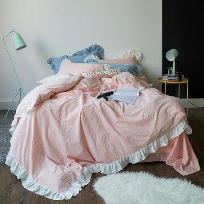 爱尚佳荷花边水洗棉四件套(床单款/床笠款) 床单款(1.5m-1.8m床) 洛丽塔-粉细条