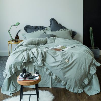 爱尚佳荷花边水洗棉四件套(床单款/床笠款) 床单款(1.5m-1.8m床) 洛丽塔-水绿