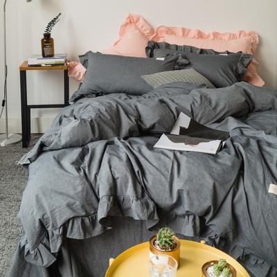 爱尚佳荷花边水洗棉四件套(床单款/床笠款) 床单款(1.5m-1.8m床) 洛丽塔-深灰