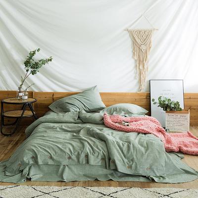 2018秋新款水洗棉麻系列四件套 1.8m(6英尺)床 豆沙绿