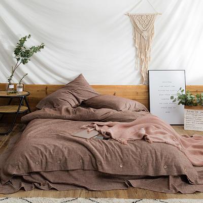 2018秋新款水洗棉麻系列四件套 1.8m(6英尺)床 摩卡咖
