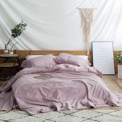 2018秋新款水洗棉麻系列四件套 1.8m(6英尺)床 香芋紫