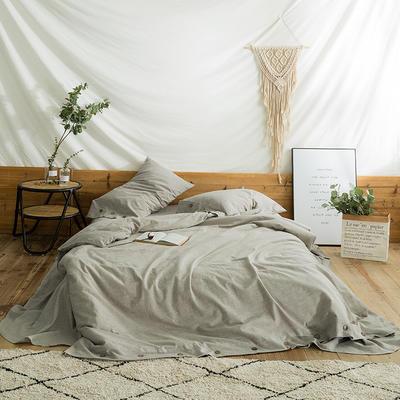 2018秋新款水洗棉麻系列四件套 1.8m(6英尺)床 杏仁米
