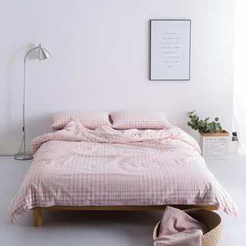 水洗棉四件套基础款新花型 小小号床单款(0.9-1.2米床) 错落粉格