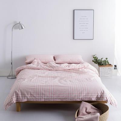 水洗棉基础款多规格四件套 小小号床单款(0.9-1.2米床) 错落粉格