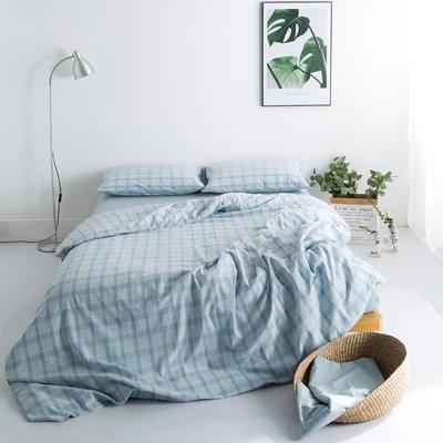 水洗棉基础款多规格四件套 大号床单款(2.0m-2.2m床) 蓝朦胧格