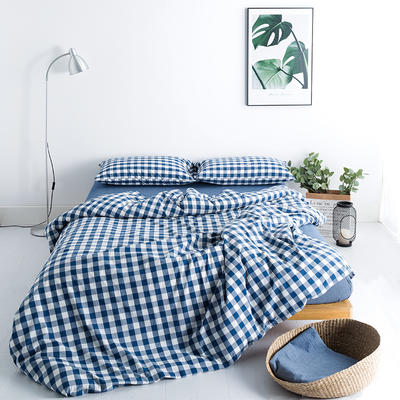 水洗棉基础款多规格四件套 小小号床单款(0.9-1.2米床) 蓝中格