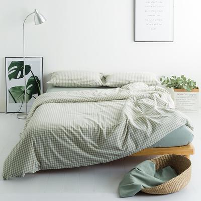 水洗棉基础款多规格四件套 小小号床单款(0.9-1.2米床) 嫩绿格