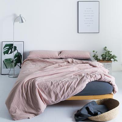 水洗棉基础款多规格四件套 小小号床单款(0.9-1.2米床) 小粉格