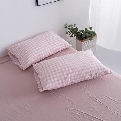 水洗棉基础款新花型单品(枕套) 48cmX74cm/对 错落粉格