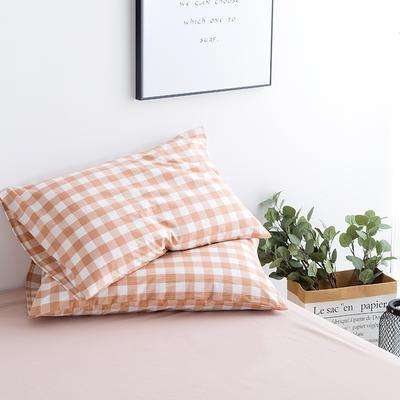 水洗棉基础款新花型单品(枕套) 48cmX74cm/对 粉中格