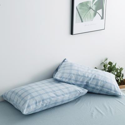 水洗棉基础款新花型单品(枕套) 48cmX74cm/对 蓝朦胧格