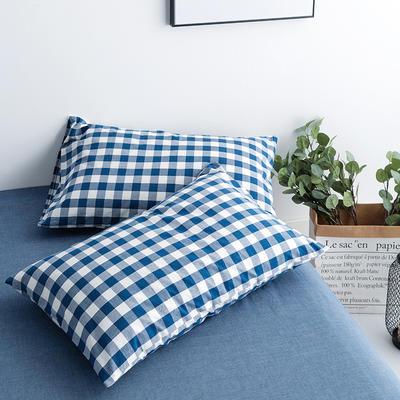 水洗棉基础款新花型单品(枕套) 48cmX74cm/对 蓝中格