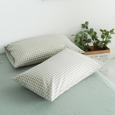 水洗棉基础款新花型单品(枕套) 48cmX74cm/对 嫩绿格