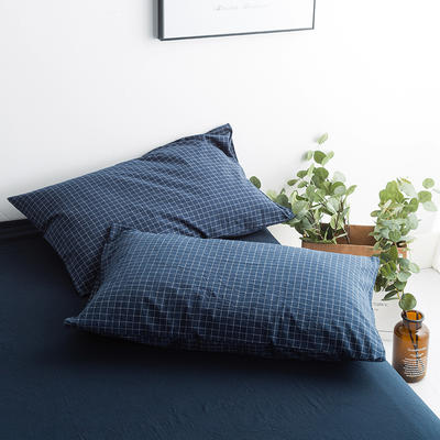 水洗棉基础款新花型单品(枕套) 48cmX74cm/对 小兰格