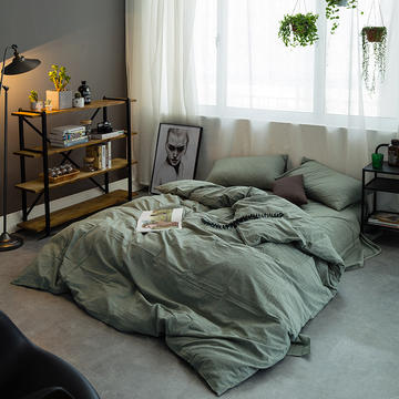 水洗棉四件套基础款新花型 小小号床单款(0.9-1.2米床) 绿