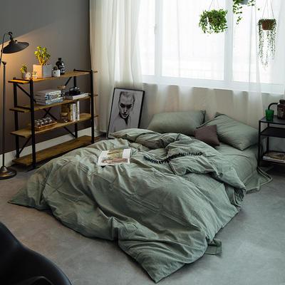 水洗棉基础款多规格四件套 小小号床单款(0.9-1.2米床) 绿