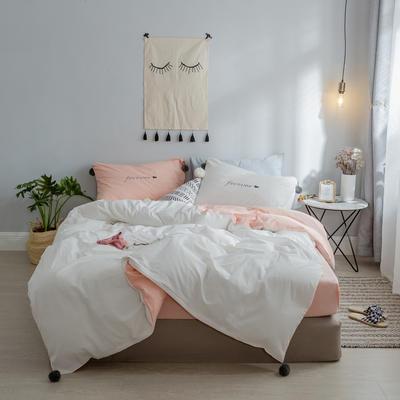 2018新款- 清新微甜款精梳水洗棉球球刺绣款四件套 1.5m(5英尺)床 CoCo-粉拼白