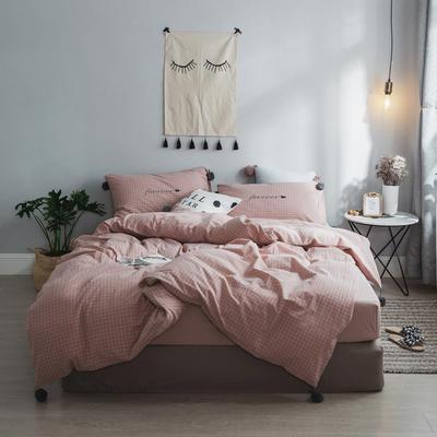 2018新款- 清新微甜款精梳水洗棉球球刺绣款四件套 1.5m(5英尺)床 CoCo-小粉格