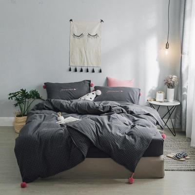 2018新款- 清新微甜款精梳水洗棉球球刺绣款四件套 1.5m(5英尺)床 CoCo小灰格